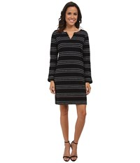 Hatley Peplum Sleeve Dress Black Stripe Women's Dress