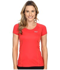 Jack Wolfskin Passion Trail Crew Neck Tee Hibiscus Red Women's T Shirt