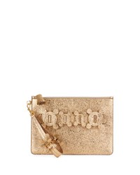 Anya Hindmarch Large Zip Top Circulus Metallic Pouch Bag Gold