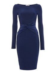 Jessica Wright Longsleeve Slinky Bodycon Midi Dress Navy