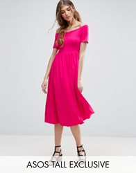 Asos Tall Ruched Sweetheart Midi Skater Dress Pink
