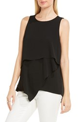 Vince Camuto Women's Tiered Asymmetrical Blouse Rich Black