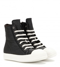 Rick Owens Leather And Shearling High Top Sneakers Black