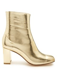 Maryam Nassir Zadeh Agnes Block Heel Leather Ankle Boots Gold