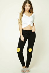 Forever 21 Happy Face Pj Pants Black Yellow