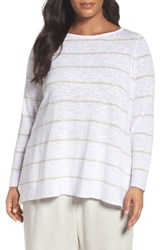 Eileen Fisher Plus Size Women's Organic Linen And Cotton Stripe Tee White Natural