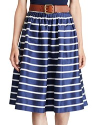 Polo Ralph Lauren Striped Cotton And Mulberry Silk A Line Skirt Blue White