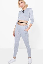 Boohoo Lace Up Crop Knitted Loungewear Set Grey