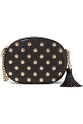 Michael Michael Kors Ginny Embellished Textured Leather Shoulder Bag Black