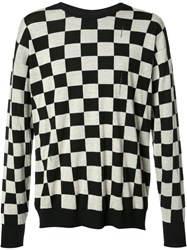 Marc Jacobs Checkered Distressed Knit Jumper Black