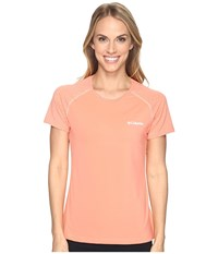 Columbia Trail Flash Short Sleeve Shirt Lychee Light Coral Women's Short Sleeve Pullover Orange