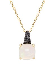 Lord And Taylor Opal Black Spinel 14K Yellow Gold Pendant Necklace