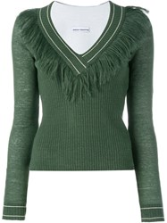 Paco Rabanne Fringed V Neck Knit Sweater Green