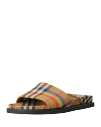 Burberry Ashmore Low Top Rainbow Check Slide Sandals Yellow