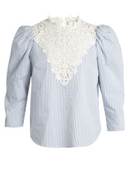 Sea Ruffled Striped Cotton Blouse Blue White