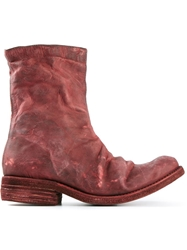 A Diciannoveventitre Side Zip Distressed Boots Red