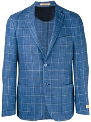 Corneliani Woven Check Jacket Men Linen Flax Cupro Virgin Wool 48 Blue