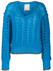 Marco De Vincenzo Chunky Bobble Knit Jumper Blue