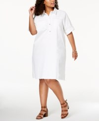 Styleandco. Style Co Plus Size Cotton Raw Hem Denim Shirtdress Bright White