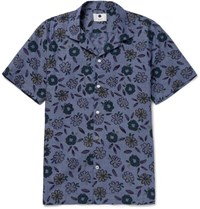 Nn.07 Nn07 Miyagi Camp Collar Floral Print Cotton Shirt Blue