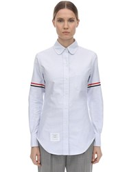 Thom Browne Oxford Cotton Shirt W Gg Armband Light Blue