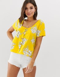 Abercrombie And Fitch Top In Floral Yellow