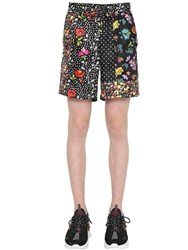 Versace Floral Printed Silk Twill Shorts Multicolor
