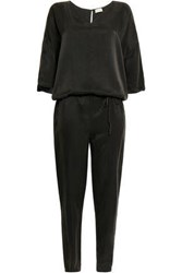 American Vintage Woman Gathered Washed Silk Jumpsuit Charcoal