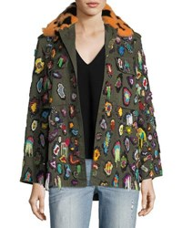 Libertine Beaded Army Jacket With Fur Collar Green