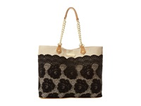Betsey Johnson Lace Over Tote Black Tote Handbags