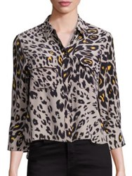 Equipment Cropped Three Quarter Sleeve Signature Cheetah Silk Blouse Fawn
