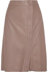 Iris And Ink Leather Wrap Skirt Taupe