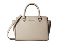 Michael Michael Kors Selma Medium Top Zip Satchel Cement Satchel Handbags Beige
