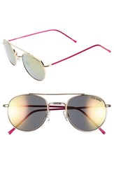 Women's Steve Madden 52Mm Mirror Lens Aviator Sunglasses Gold Pink