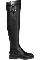 Valentino Leather Over The Knee Boots Black