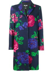 Msgm Floral Single Breasted Coat Blue