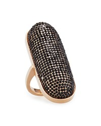 Rebecca Minkoff Pave Id Ring Rose Golden Black Rosegold Blkdiamo