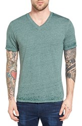 The Rail Men's Burnout Nepped V Neck T Shirt Green Bug Bo