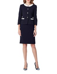Tahari By Arthur S. Levine Two Piece Contrast Patch Pocket Jacket And Skirt Suit Navy Ivory