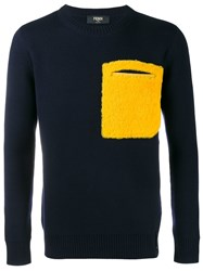 Fendi Lamb Fur Pocket Jumper Blue