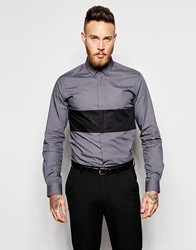 Religion X Noose And Monkey Shirt With Contrast Panel In Skinny Fit Charcoal