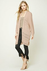 Forever 21 Open Knit Dolman Cardigan Taupe