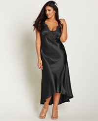 Flora By Flora Nikrooz Plus Size Satin Stella Nightgown Black