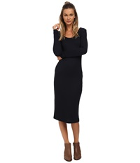 Only Books Long Sleeve Ribbed Dress Peacoat Women's Dress Blue