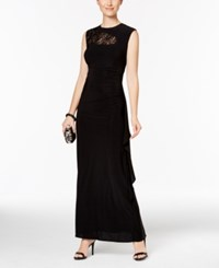 R And M Richards Sequined Lace Trim Ruched Gown Black