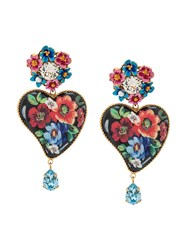 Dolce And Gabbana Floral Heart Earrings Black