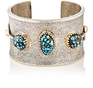 Mahnaz Ispahani Vintage Women's Turquoise And Silver Wide Band Cuff Colo Colorless
