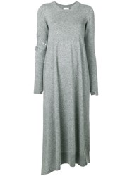 Barrie Long Sleeve Knitted Dress Grey