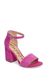 Sam Edelman Women's Torrence Ankle Strap Sandal Hot Pink Suede