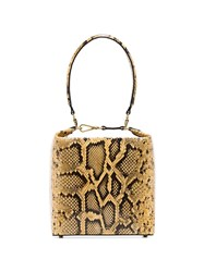 Rejina Pyo Yellow Lucie Snake Effect Leather Box Bag 60